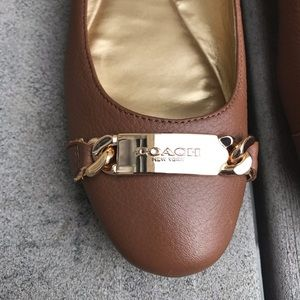 Coach Shoes - COACH 'Bianca' Brown Leather Gold Buckle Flats 7